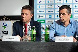 Bor Rozman and Uros Mohoric during press conference of Slovenian handball federation, Hotel Intercontinental, 17. December 2019, Ljubljana, Slovenia. Grega Valancic / Sportida