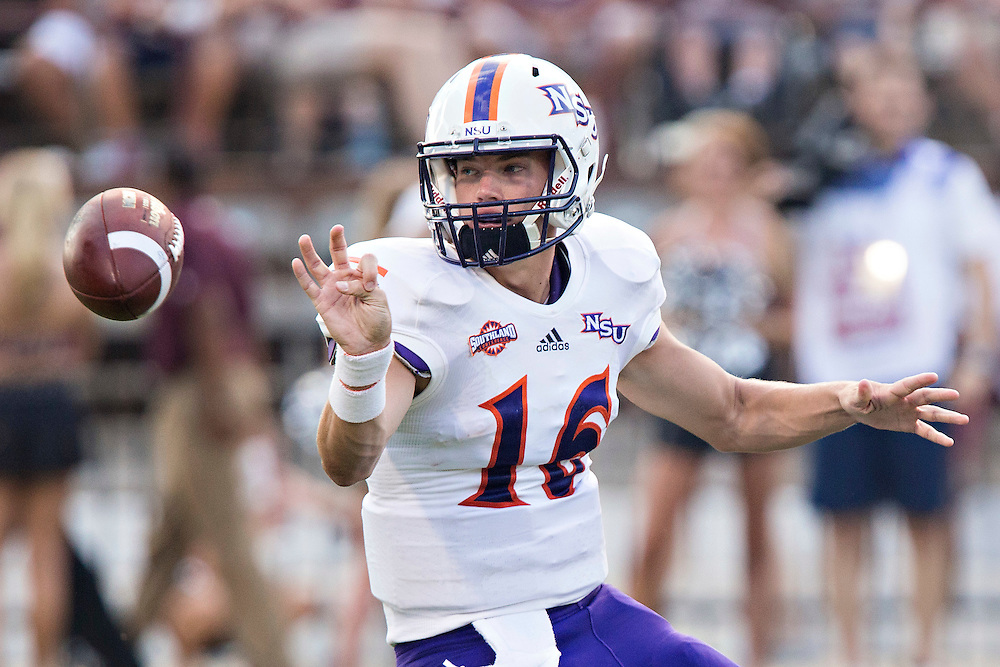 STARKVILLE, MS - SEPTEMBER 19:  Daniel Hazlewood #16 of the Northwestern State Demons pitches the ball during a game against the Mississippi State Bulldogs at Davis Wade Stadium on September 19, 2015 in Starkville, Mississippi.  The Bulldogs defeated the Demons 62-13.  (Photo by Wesley Hitt/Getty Images) *** Local Caption *** Daniel Hazlewood