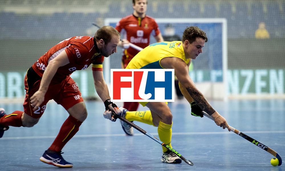 BERLIN - Indoor Hockey World Cup<br /> Quarterfinal 4: Australia - Belgium<br /> foto: HAYES Jack.<br /> WORLDSPORTPICS COPYRIGHT FRANK UIJLENBROEK