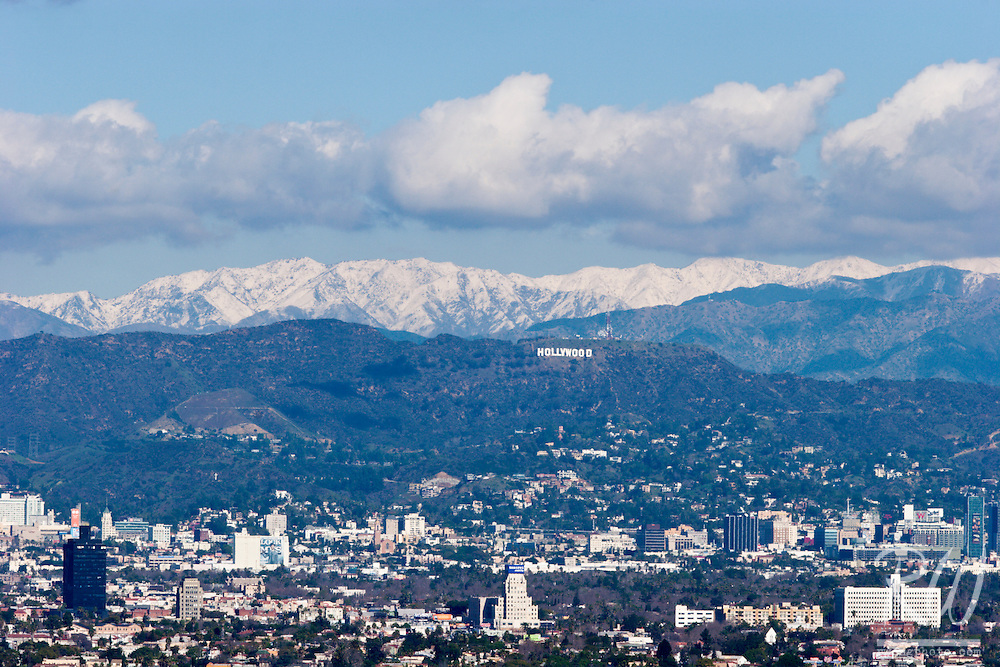 Snow in Santa Monica Mountains Behind Hollywood Sign, Los Angeles, California