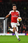 Arsenal Forward Pierre-Emerick Aubameyang (14) in action during the Europa League round of 16, leg 2 of 2 match between Arsenal and Rennes at the Emirates Stadium, London, England on 14 March 2019.