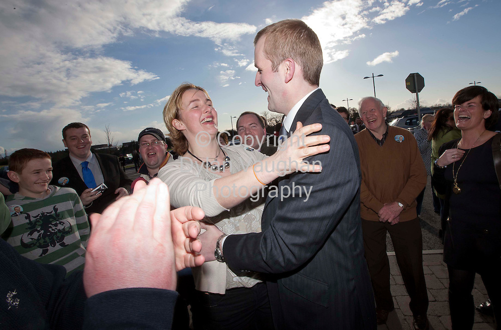 26/2/2011.John Paul Phelan Fine Gael pictured arriving to the count centre at Cillin Hill Kilkenny for the Carlow Kilkenny vote where he is expected to top the poll.Pictured with John Paul is Catherine Phelan, Johns Sister..Picture Dylan Vaughan.....