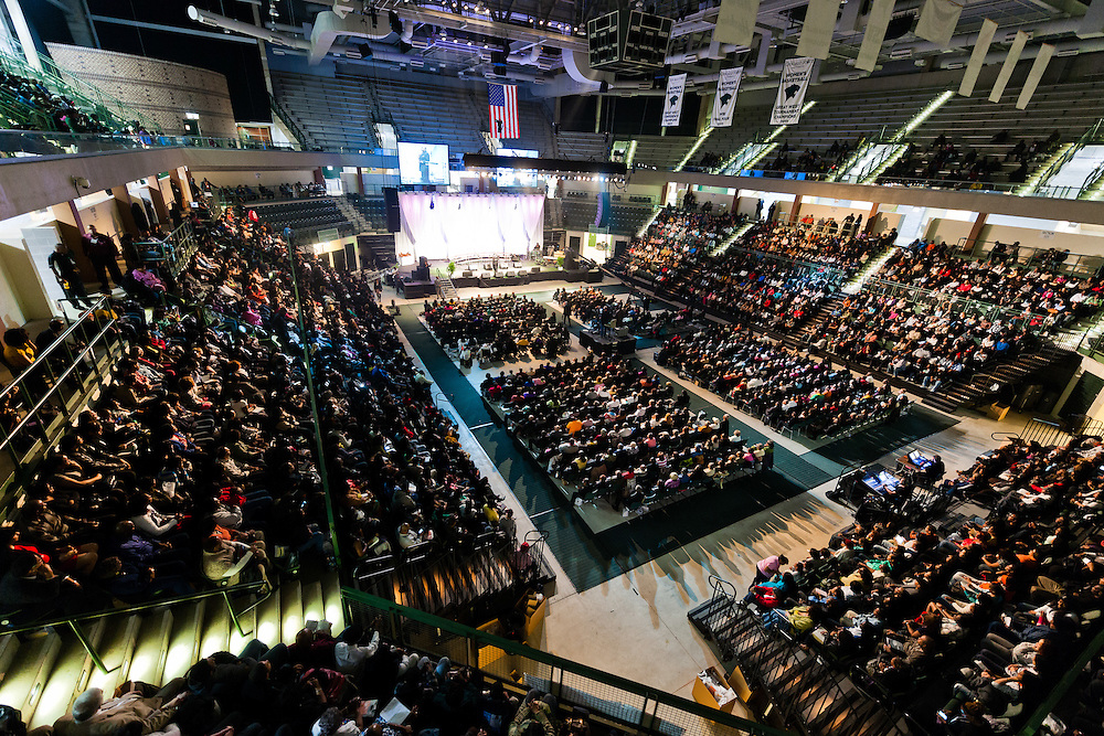 The crowd for Bishop TD Jakes at Chicago State University.