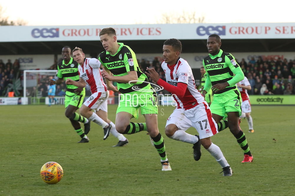 Jack Fitzwater and Jerell Sellars during the EFL Sky Bet League 2 match between Forest Green Rovers and Cheltenham Town at the New Lawn, Forest Green, United Kingdom on 25 November 2017. Photo by Antony Thompson.