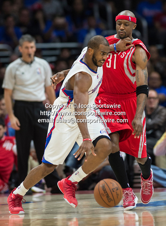May 14, 2015 - Los Angeles, CA, USA - Clippers' Chris Paul makes his move against Rockets' Jason Terry during the second half of game six of the second round of the NBA Playoffs at Staples Center in Los Angeles on Thursday. Rockets wins with the score of 119 to 107