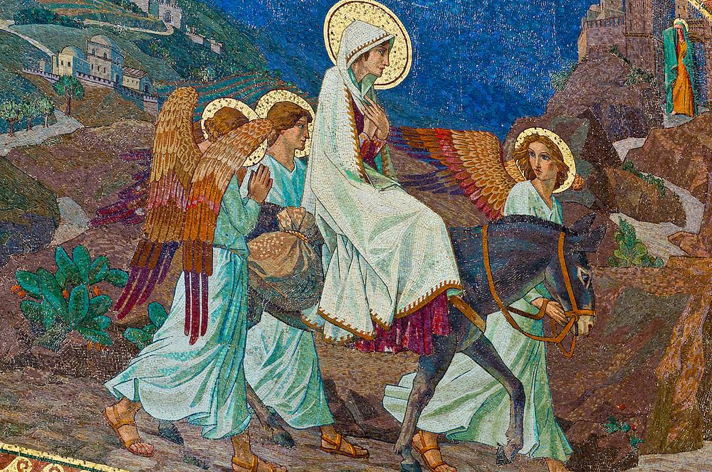 Mosaic of the Virgin Mary, Church of the Visitation, town of Ein Karem (birthplace of John the Baptist), near Jerusalem, Israel.