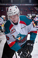 KELOWNA, CANADA - APRIL 14: Kaeden Korczak #6 of the Kelowna Rockets warms up against the Portland Winterhawks on April 14, 2017 at Prospera Place in Kelowna, British Columbia, Canada.  (Photo by Marissa Baecker/Shoot the Breeze)  *** Local Caption ***