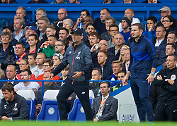 LONDON, ENGLAND - Sunday, September 22, 2019: Liverpool's manager Jürgen Klopp (L) and Chelsea's manager Frank Lampard during the FA Premier League match between Chelsea FC and Liverpool FC at Stamford Bridge. (Pic by David Rawcliffe/Propaganda)