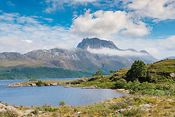 View of Slioch mountain and Loch Maree in Wester Ross, Scotland, united Kingdom