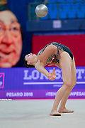 Milena Baldassarri during Qualification of ball at World Cup Pesaro 2018.<br /> Milena from Italy is a really young but talented gymnast. She was born in Ravenna on October 16, 2001.