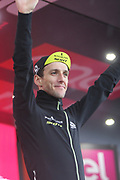 118 Simon Yates Mitchelton-Scott celebrates retaining his lead during stage 17 of the Giro D'Italia, Iseo Italy on 23 May 2018. Picture by Graham Holt.