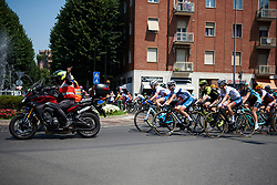 Rozanne Slik (NED), Lotta Lepistö (FIN) and Cecilie Uttrup Ludwig (DEN) in the neutral depart through Piacenza at Giro Rosa 2018 - Stage 4, a 109 km road race starting and finishing in Piacenza, Italy on July 9, 2018. Photo by Sean Robinson/velofocus.com