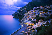 6301-1000LVT ~ Copyright: George H. H. Huey ~ Resort town of Positano at dusk. Positano is the starting line for the famous 'Santiero degli Dei' [Path of the Gods] hike. Amalfi coast. Southwest Italy.