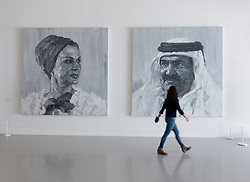 Royal portraits by Yan Pei-Ming at Mathaf: Arab Museum of Modern Art, Doha , Qatar.