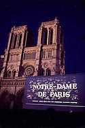 """Paris. film show """" notre dame de Paris"""" in front of the cathedral.   Paris  France"""