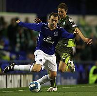 Photo: Paul Thomas.<br />Everton v Werder Bremen. Pre Season Friendly. 31/07/2007.<br /><br />James McFadden (L) of Everton gets past Christian Schulz.