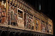 South choir screen, 1351, by Jean le Bouteiller, carved polychrome wood with 9 scenes of the apparitions of Christ after his resurrection, separated by columns, in the Cathedrale Notre-Dame de Paris, or Notre-Dame cathedral, built 1163-1345 in French Gothic style, on the Ile de la Cite in the 4th arrondissement of Paris, France. The choir screen was restored in the 19th century under Viollet le Duc. Photographed on 17th December 2018 by Manuel Cohen