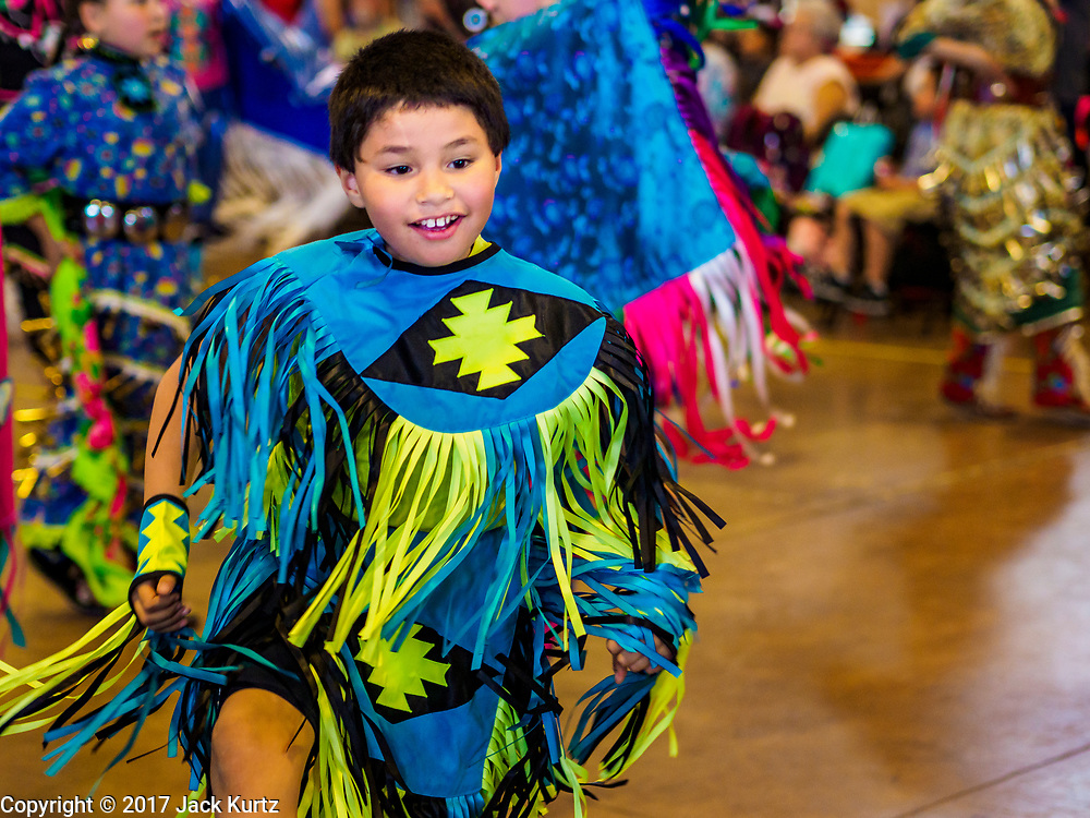 06 MAY 2017 - ST. PAUL, MN: An intertribal dancer at the 6th Annual Powwow for Hope at Ft. Snelling in St. Paul. The powwow was a fundraiser to support cancer education and supportive services for American Indian communities. Proceeds benefited the American Indian Cancer Foundation's work to eliminate cancer burdens on American Indian families. Cancer is the leading cause of death in Native American communities, exceeding coronary disease and diabetes.       PHOTO BY JACK KURTZ
