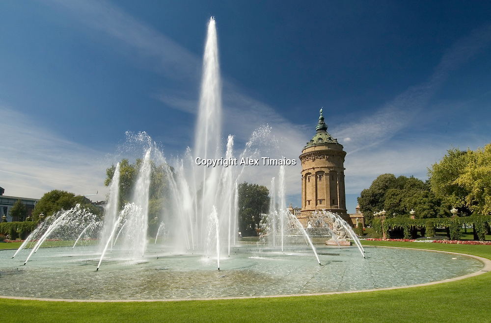 Mannheim, Fountain, Water Tower, Germany