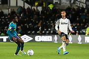 Max Lowe passes the ball during the EFL Sky Bet Championship match between Derby County and Hull City at the Pride Park, Derby, England on 18 January 2020.