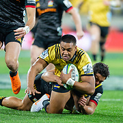WELLINGTON, NEW ZEALAND - 20 JULY: Action during the super rugby union quarter final game played between Hurricanes v Chiefs , on 20 July 2018, at Westpac Stadium, Wellington, New Zealand. Hurricanes won 32-12.