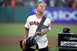 SAN FRANCISCO, CA - MAY 03:  Recording artist James Hetfield of Metallica performs the national anthem before the game between the San Francisco Giants and the Los Angeles Dodgers at AT&T Park on May 3, 2013 in San Francisco, California. The San Francisco Giants defeated the Los Angeles Dodgers 2-1. (Photo by Jason O. Watson/Getty Images) *** Local Caption *** James Hetfield