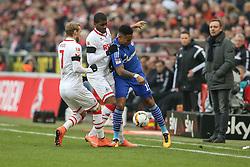 05.03.2016, Rhein Energie Stadion, Koeln, GER, 1. FBL, 1. FC Koeln vs Schalke 04, 25. Runde, im Bild vl. Marcel Risse (Koeln, #7), Anthony Modeste (Koeln, #27), Dennis Aogo (Schalke, #15) // during the German Bundesliga 25th round match between 1. FC Cologne and Schalke 04 at the Rhein Energie Stadion in Koeln, Germany on 2016/03/05. EXPA Pictures © 2016, PhotoCredit: EXPA/ Eibner-Pressefoto/ Horn<br /> <br /> *****ATTENTION - OUT of GER*****