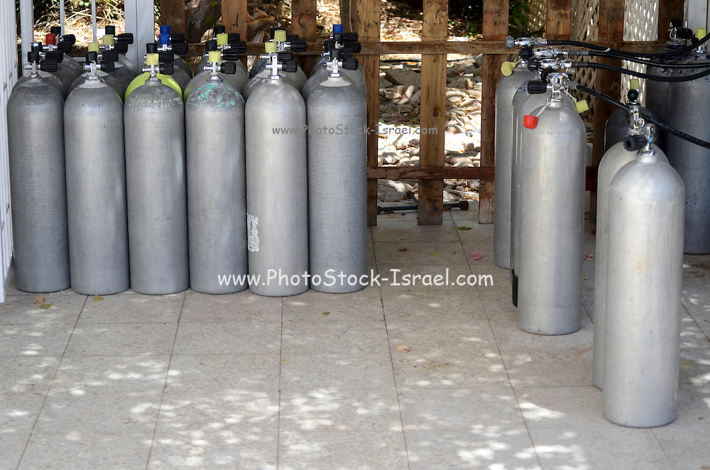 Diver's compressed air tanks Photographed in Eilat, Israel