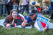 May 20, 2015 - New York, NY. Batis Aydemir and Brittney Weeks enjoy the pre-game festivities at Bryant Park, prior to the beginning of Game 3 of Rangers VS Tampa. Photograph by Anthony Kane/NYCity Photo Wire