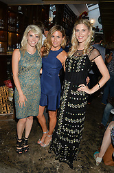 Left to right, PIPS TAYLOR, ZOE HARDMAN and ASHLEY JAMES at the launch of Give Me Sport Magazine held at Library, 112 St.Martin's Lane, London on 30th July 2014.
