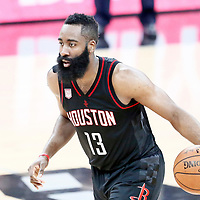 01 May 2017: Houston Rockets guard James Harden (13) brings the ball up court during the Houston Rockets 126-99 victory over the San Antonio Spurs, in game 1 of the Western Conference Semi Finals, at the AT&T Center, San Antonio, Texas, USA.