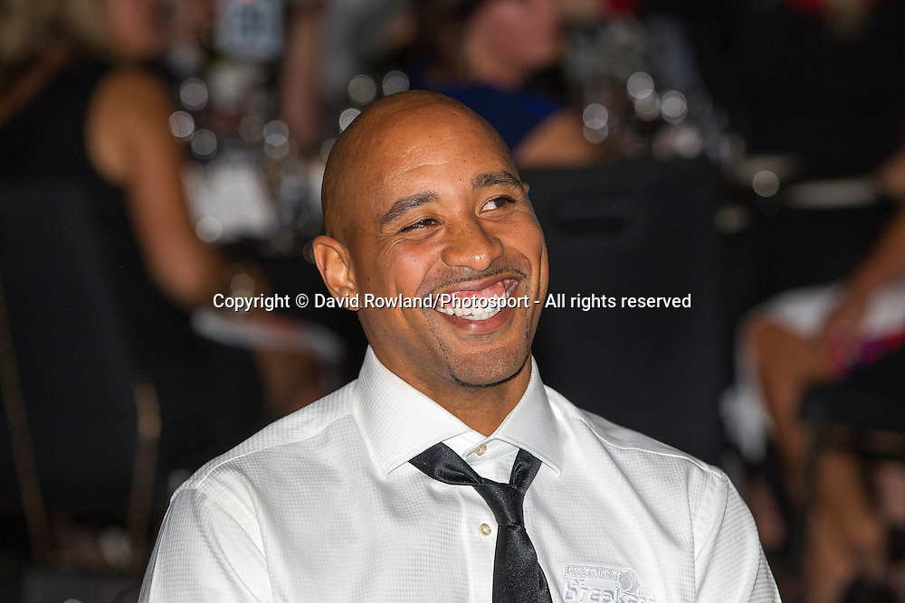 Breakers' CJ Bruton reacts to his tribute at the Skycity Breakers Awards, 2013-14, Skycity Convention Centre, Auckland, New Zealand, Friday, March 28, 2014. Photo: David Rowland/Photosport