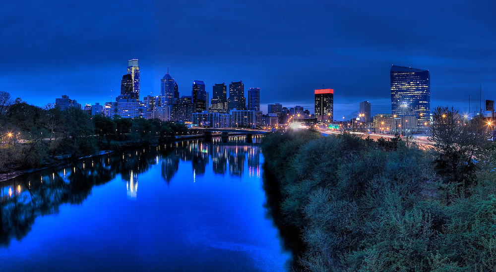 An early morning view of the Philadelphia skyline, April 2010.