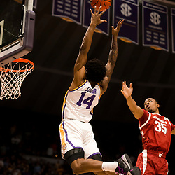 Feb 2, 2019; Baton Rouge, LA, USA; LSU Tigers guard Marlon Taylor (14) misses the pass on a dunk attempt in the final seconds against the Arkansas Razorbacks during the second half at the Maravich Assembly Center. Mandatory Credit: Derick E. Hingle-USA TODAY Sports