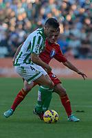 Betis's Bruno (L) and Huelva's Joselu during the match between Real Betis and Recreativo de Huelva day 10 of the spanish Adelante League 2014-2015 014-2015 played at the Benito Villamarin stadium of Seville. (PHOTO: CARLOS BOUZA / BOUZA PRESS / ALTER PHOTOS)