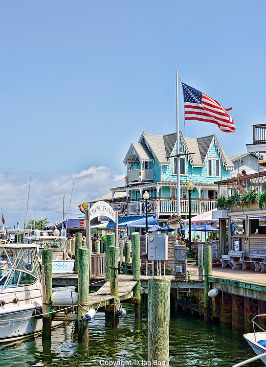 Boats and restaurants at Church's Pier, Oak Bluffs,Martha's Vineyard,Massachusetts,
