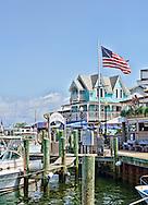 Boats and restaurants at Church's Pier, Oak Bluffs,Martha's Vineyard,Massachusetts,
