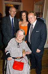 Left to right, LORD & LADY TEBBIT, SUSAN GILCHRIST and ANDREW ROBERTS at a party to celebrate the publication of 'A History of The English Speaking Peoples Since 1900' hosted by Andrew Roberts and Susan Gilchrist at the English-Speaking Union, 37 Charles Street, London W1 on 11th September 2006.<br />