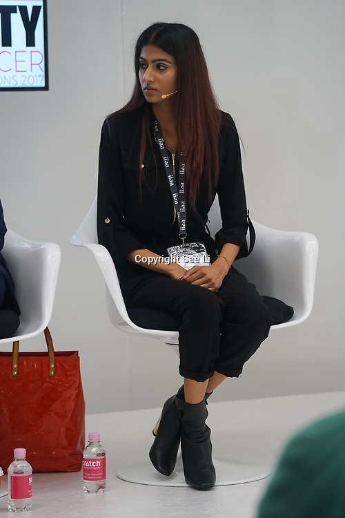 Olympia London, London, England, UK. Davina Kumal is a INFLUENCER PR on instagram talk show 'How to Get Noticed' at The Olympia Beauty show at Kensington Olympia in London on 1st October 2017.