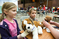 Medical Students Volunteer for NUI Galway's Teddy Bear Hospital where Rhian O Callaghan  had her sick teddy Sara fixed and Felix Schlosser was worried about his little teddy. Photo:Andrew Downes.