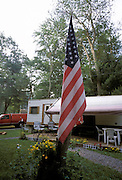 American flag in a trailer park