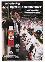 1996 Speed Skate Lube Advertisement tearsheet of the RHI Anaheim Bullfrogs coach and players on the bench.
