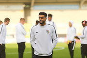 Coventry City defender Jordan Willis (4) arrives at the Pirelli Stadium during the EFL Sky Bet League 1 match between Burton Albion and Coventry City at the Pirelli Stadium, Burton upon Trent, England on 17 November 2018.