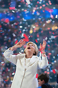 Democratic presidential candidate Hillary Clinton onstage on the final night of the Democratic National Convention in Philadelphia, Pennsylvania.