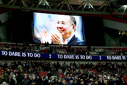 A tribute to Leicester Chairman Vichai Srivaddhanaprabha is displayed on the big screen during half time