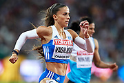 Great Britain, London - 2017 August 07: Irini Vasiliou from Greece competes in women&rsquo;s 400 meters final during IAAF World Championships London 2017 Day 4 at London Stadium on August 07, 2017 in London, Great Britain.<br /> <br /> Mandatory credit:<br /> Photo by &copy; Adam Nurkiewicz<br /> <br /> Adam Nurkiewicz declares that he has no rights to the image of people at the photographs of his authorship.<br /> <br /> Picture also available in RAW (NEF) or TIFF format on special request.<br /> <br /> Any editorial, commercial or promotional use requires written permission from the author of image.