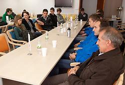 Kaja Obidic, Lucija Krkoc, Vid Zevnik (L), Primoz Kobe, Roman Kejzar, Edvin Kosovelj at press conference of Slovenia athlete team before European Cross country Championships in Albufeira in Portugal, on December 10, 2010 in AZS, Ljubljana, Slovenia. (Photo By Vid Ponikvar / Sportida.com)