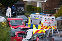 ©Licensed to London News Pictures 22/12/2019. <br /> Crawley Down ,UK. Police on the scene. Two people are dead and a third is fighting for life after a knifeman attacked people on a housing estate in Crawley Down, West Sussex Photo credit: Grant Falvey/LNP