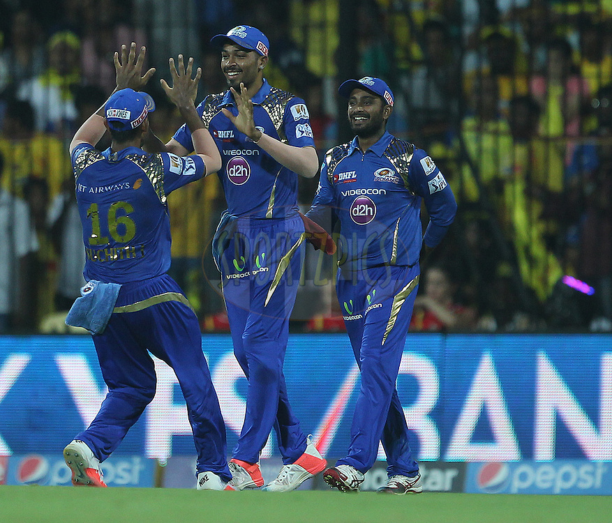 Hardik Pandya celebrates the wicket of Dwayne Smith of the Chennai Superkings  during match 43 of the Pepsi IPL 2015 (Indian Premier League) between The Chennai Superkings and The Mumbai Indians held at the M. A. Chidambaram Stadium, Chennai Stadium in Chennai, India on the 8th May April 2015.<br /> <br /> Photo by:  Ron Gaunt / SPORTZPICS / IPL
