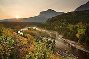 Sunrise in Many Glacier, Glacier National Park.